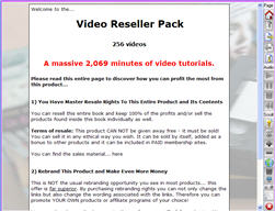 Pay for Video Reseller Pack - Massive 2,069 Minutes of Down To Earth And Practical ´How To´ Video Tutorials