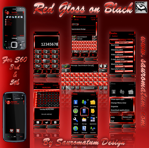 Pay for Symbian Theme: Red Gloss on Black