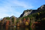 Thumbnail with the boat on lake Alpsee, autumn colours, Bavaria, Germa