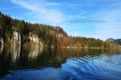Pay for lake Alpsee on the side landscape, Bavaria, Germany
