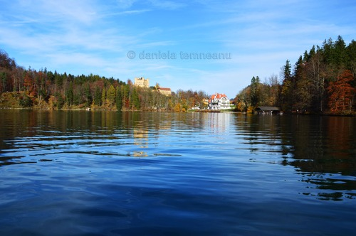 Pay for Hohenschwangau castle, view from lake Alpsee, Bavaria, German