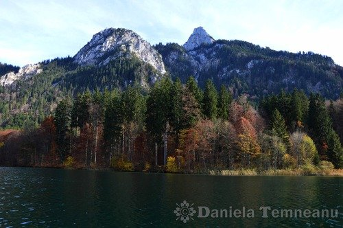 Pay for bavarian Alps autumn landscape, lake Alpsee, Germany