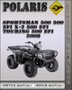 Thumbnail 2008 Polaris Sportsman 500 500 EFI X-2 500 EFI Touring 500 EFI Factory Service Repair Manual