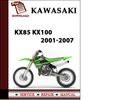 Thumbnail Kawasaki KX85 KX100 2001-2007 Workshop Service Repair Manual Pdf Download