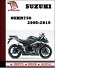 Thumbnail Suzuki GSXR750 2008 2009 2010 Workshop Service Repair Manual Pdf Download