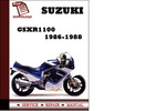 Thumbnail Suzuki GSXR1100 1986 1987 1988 Workshop Service Repair Manual Pdf Download