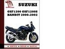 Thumbnail Suzuk GSF1200 GSF1200S Bandit 2000 2001 2002 Workshop Service Repair Manual Pdf Download
