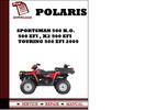 Thumbnail Polaris Sportsman 500 H.O. , 500 EFI , X2 500 EFI , Touring 500 EFI 2009 Workshop Service Repair Manual Pdf Download