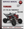 Thumbnail Yamaha ATV YFB 250 Timberwolf 1992-2000 Factory Service Repair Manual Download Pdf
