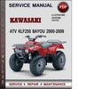 Thumbnail Kawasaki ATV KLF250 BAYOU 2000-2009 Factory Service Repair Manual Download Pdf