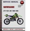 Thumbnail Kawasaki ATV KDX 200 1989-1999 Factory Service Repair Manual Download Pdf