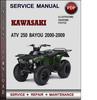 Thumbnail Kawasaki ATV 250 Bayou 2000-2009 Factory Service Repair Manual Download Pdf