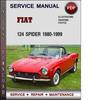 Thumbnail Fiat 124 Spider 1980-1999 Factory Service Repair Manual Download Pdf