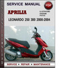 Thumbnail Aprilia Leonardo 250 300 2000-2004 Factory Service Repair Manual Download Pdf