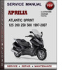 Thumbnail Aprilia Atlantic Sprint 125 200 250 500 1997-2007 Factory Service Repair Manual Download Pdf
