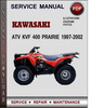 Thumbnail Kawasaki ATV KVF 400 Prairie 1997-2002 Factory Service Repair Manual Download PDF