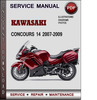 Thumbnail Kawasaki CONCOURS 14 2007-2009 Factory Service Repair Manual Download PDF