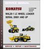 Thumbnail Komatsu WAl20-1 LC WHEEL LOADER Serial 20001 and up Factory Service Repair Manual Download PDF
