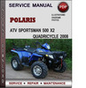 Thumbnail Polaris ATV Sportsman 500 X2 Quadricycle 2008 Factory Service Repair Manual Download Pdf