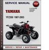 Thumbnail Yamaha YFZ350 1987-2003 Factory Service Repair Manual Download PDF