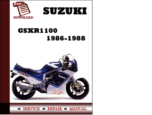 suzuki gsxr1100 1986 1987 1988 workshop service repair
