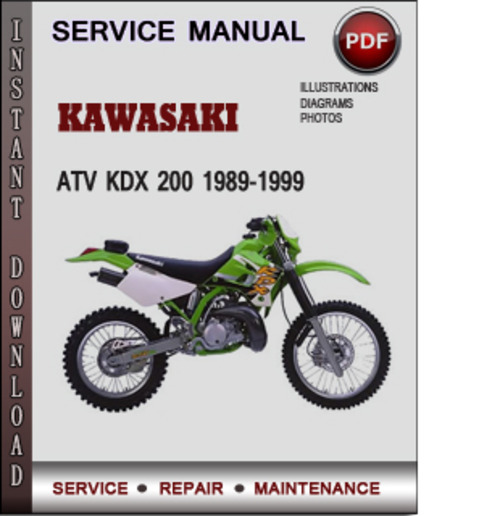 pay for kawasaki atv kdx 200 1989-1999 factory service repair manual  download pdf
