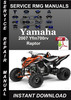 Thumbnail 2007 Yamaha Yfm700rv Raptor Service Repair Manual Download