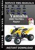Thumbnail 2008 Yamaha Yfm700rv Raptor Service Repair Manual is a highl