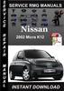 Thumbnail 2002 Nissan Micra K12 Service Repair Manual Download