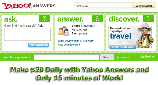 Pay for Make $20 a Day with Yahoo Answers - Resell Rights
