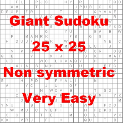 Pay for 110 Giant Sukoku Puzzles 25 x 25 Non Symmetric Very Easy