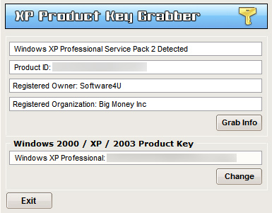 xp product key change