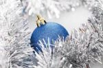 Thumbnail Blue glitter Christmas tree ball with Christmas decorations