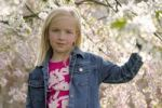 Thumbnail Blond girl against blossoming tree, portrait