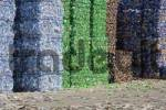 Thumbnail plastic bottles, sorted by colour, compressed into bales and ready for recycling