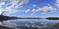 Thumbnail Panoramic view of Kochelsee Lake, reflection of the clouds, Bad Toelz-Wolfratshausen district, Upper Bavaria, Germany, Europe