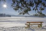 Thumbnail Bench, view of the frozen over Staffelsee Lake in winter, Garmisch-Partenkirchen district, Upper Bavaria, Germany, Europe