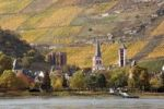 Thumbnail View of the Rhine River and the town of Bacharach, Rhenish Hesse, UNESCO World Heritage Site Upper Middle Rhine Valley, Rhineland-Palatinate, Germany, Europe