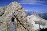 Thumbnail Woman on Sentiero Ivano Dibona fixed rope route, Ponte Cristallo Bridge, Cortina dAmpezzo, Ampezzo Dolomites, Italy, Europe