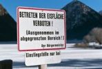 Thumbnail Jetty with sign, stepping on the ice prohibited, at a frozen lake, Lake Heiterwanger, Heiterwang, Tyrol, Austria, Europe