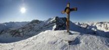 Thumbnail Cross on the summit of Mt Steinkarspitze, mountain panorama, Kelmen, Namlos, Ausserfern, Tyrol, Austria, Europe