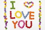 "Thumbnail ""I LOVE YOU"", lettering of coloured confectionary"
