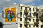 Thumbnail Sowjet style appartment house with a painting of socialistic propaganda Ulaan Baatar Mongolia