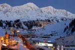 Thumbnail Obertauern ski resort dusk, lights, in the back snow-covered mountains, Salzburg, Austria, Europe