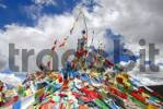 Thumbnail Colourful prayer flags wave on a mountain Yumbulagang near Tsetang Tibet China