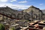 Thumbnail View of the old town with fortress Dzong from Pelkor Chöde Monastery Gyantse Tibet China