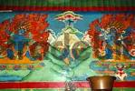Thumbnail Wall painting of Mt. Everest Chomolungma with two burning demons at each side Rongbuk Monastery Tibet China