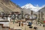 Thumbnail White stupa with colourful prayer flags and Mt. Everest Chomolungma Rongbuk Monastery Tibet China