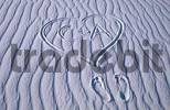 Thumbnail Foot prints and heart with letters in sand structures, White Sands national monument, New Mexico, USA