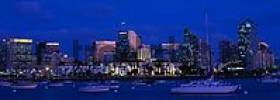 Thumbnail Ships in harbour and skyline of downtown San Diego at dusk, California, USA